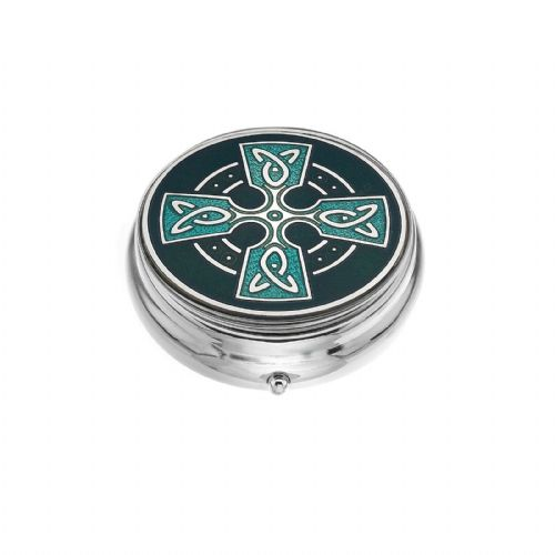 Large Pill Box Silver Plated Celtic Cross Head Green Brand New & Boxed